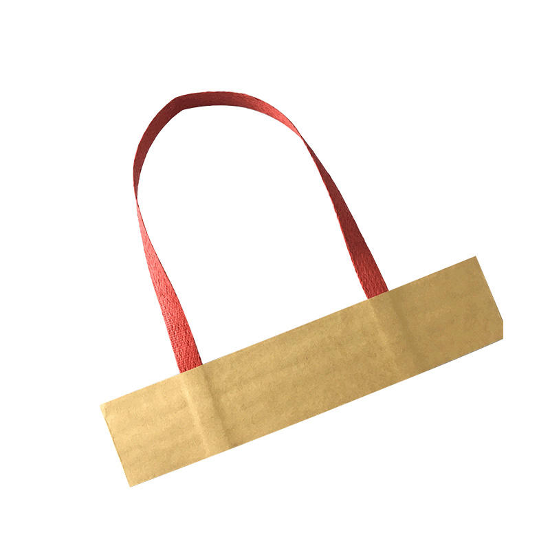 Flat ribbon paper handle for gift bags