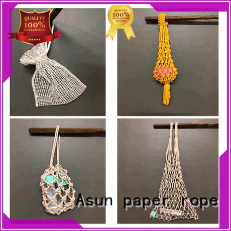Asun paper rope Brand pure knitted paper net bags pulp supplier